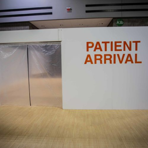 The patient arrival area at a temporary hospital