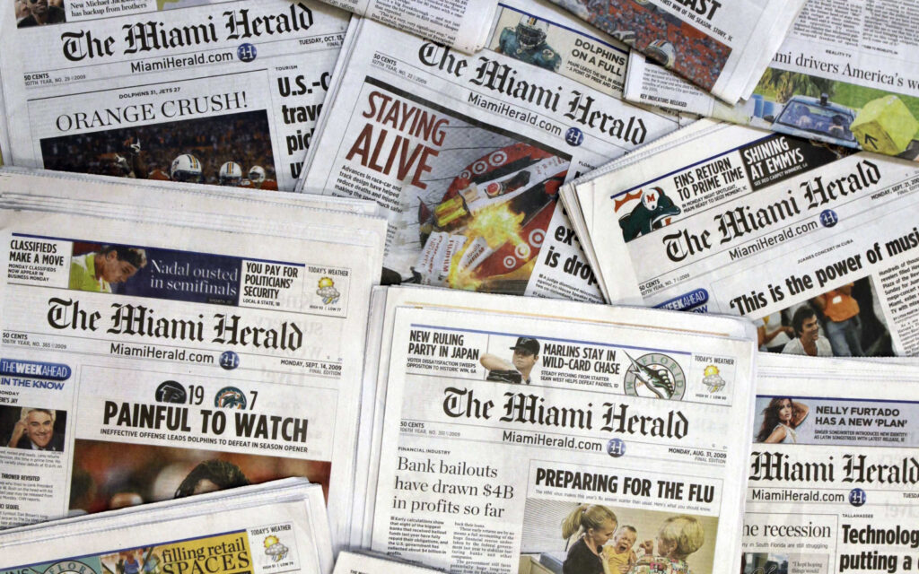 Copies of The Miami Herald, which Margaret Sullivan notes doggedly reported on Jeffrey Epstein.