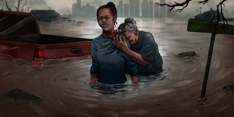 Illustration of daughter and mom in Houston after a hurricane.