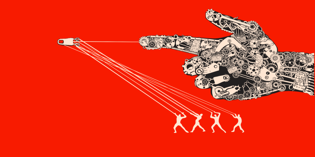 Illustration of four people harnessing a machine as a weapon
