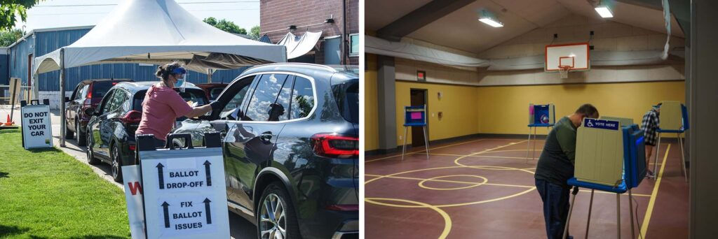 At left, voters use a drive-through voting location in Johnson County, Iowa, the day before the primary election. At right, a school gym in use as a polling place on election day.
