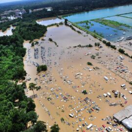 A helicopter view shows the flooding and devastation in Baton Rouge, Louisiana.