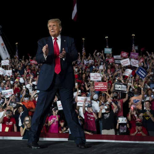 President Donald Trump walks off after speaking at a campaign rally in Florida on Oct. 12, 2020.