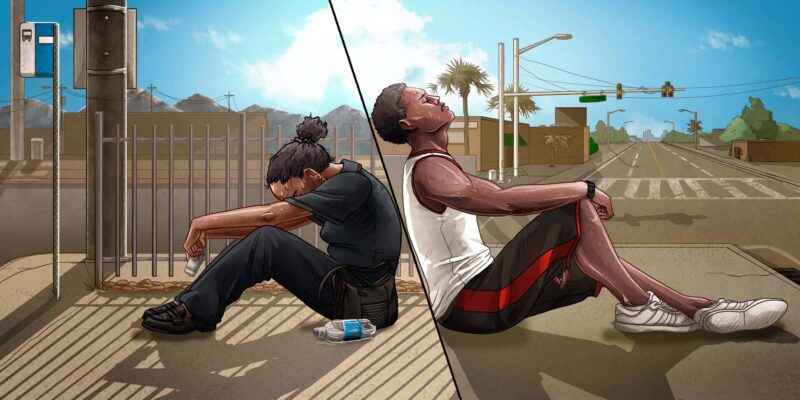 Illustration of two scenes: woman of color in Arizona on a hot day and man of color in Florida on a hot day.