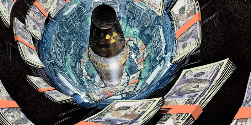 nuclear warhead blasting off as money swirls around