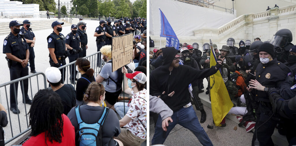 Police response differed to the protests about the death of George Floyd in June 2020 and Trump supporters trying to break through a police barrier at the Capitol.