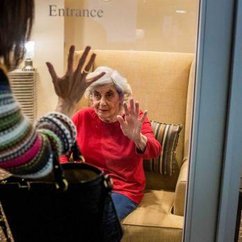 Karen Klink, of Hermosa Beach, visits her 86-year-old mother Cynthia Tachner at Silverado Beach Cities Memory Care in Redondo Beach