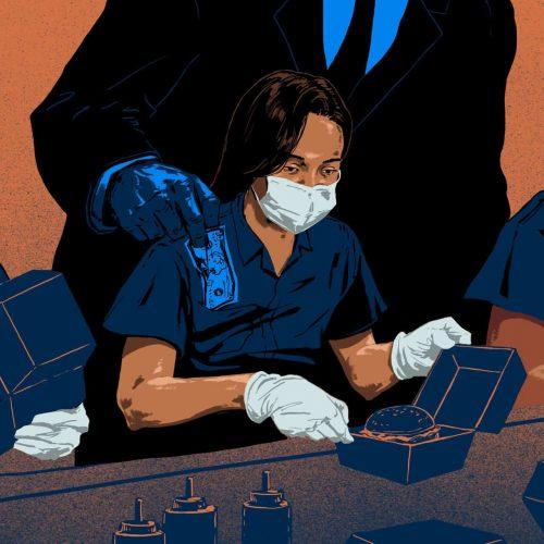 Employer steals money from worker's pocket.
