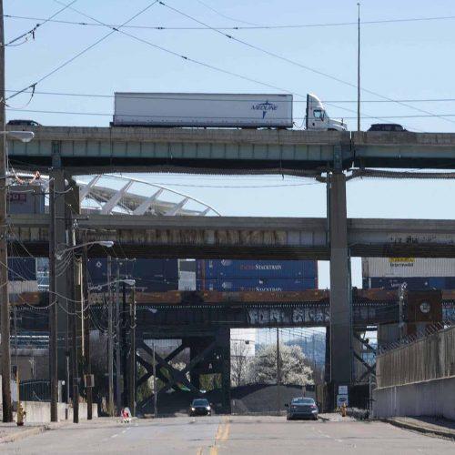 The Brent Spence Bridge spans the Ohio River
