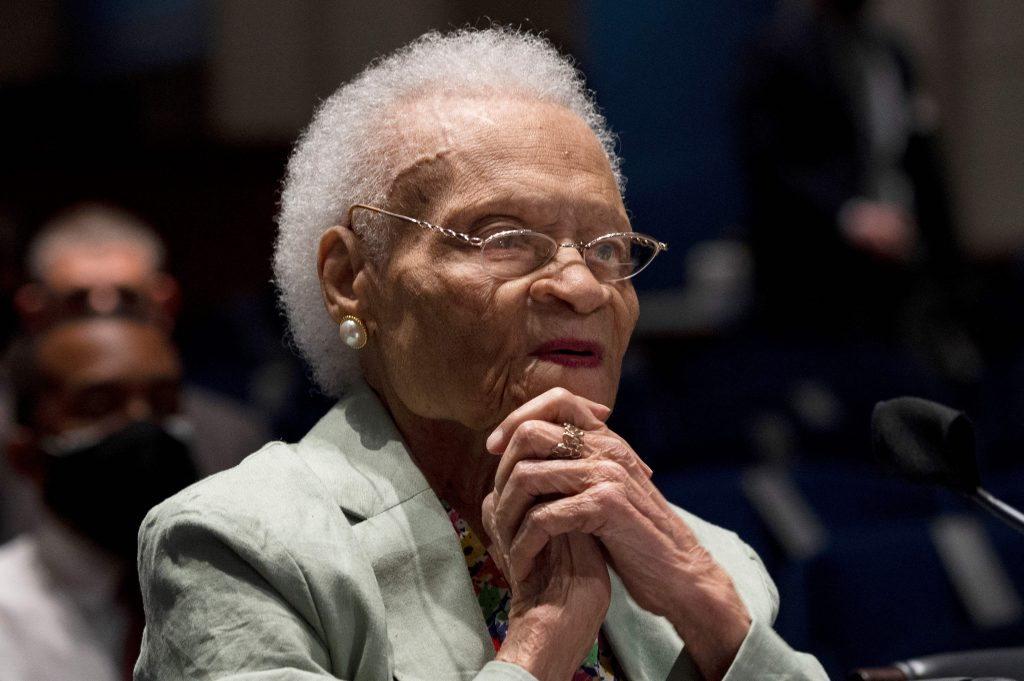 Viola Fletcher, the oldest living survivor of the Tulsa Race Massacre, testifies before a House subcommittee on May 19, 2021.