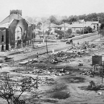 Part of Greenwood district burned in the Tulsa RaceMassacre in Oklahoma in 1921.