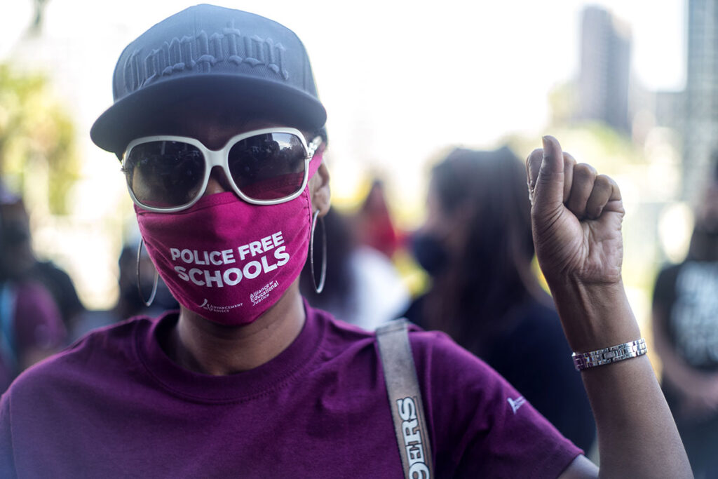 Students, parents, teachers and community members belonging to Reclaim Our Schools in Los Angeles call on the school board to abolish the LAUSD School Police during a protest in 2021.