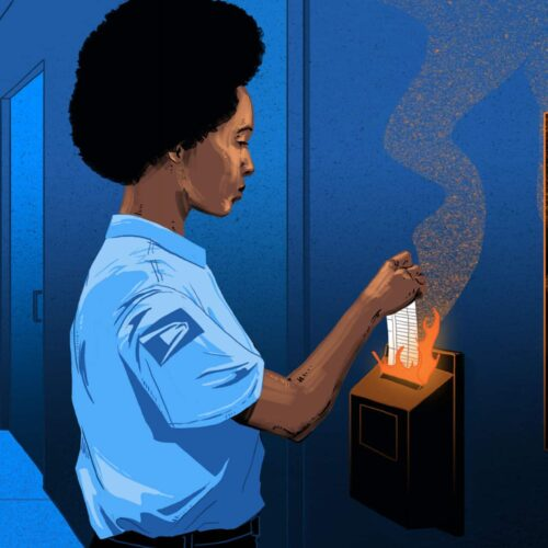 An illustration of a USPS worker filing her timecard while it is on fire.
